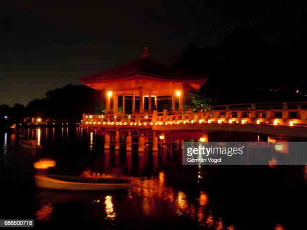 Nara pond gazebo during Tokae lights festival at night, Japan