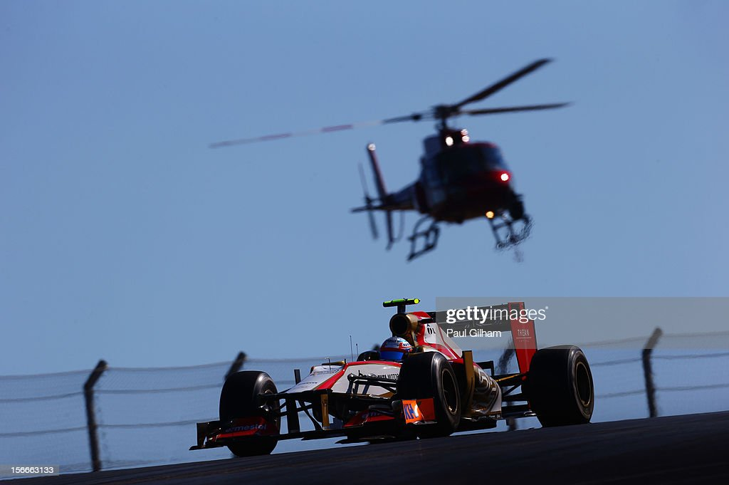 Narain Karthikeyan of India and Hispania Racing Team drives during the United States Formula One Grand Prix at the Circuit of the Americas on November 18, 2012 in Austin, Texas.