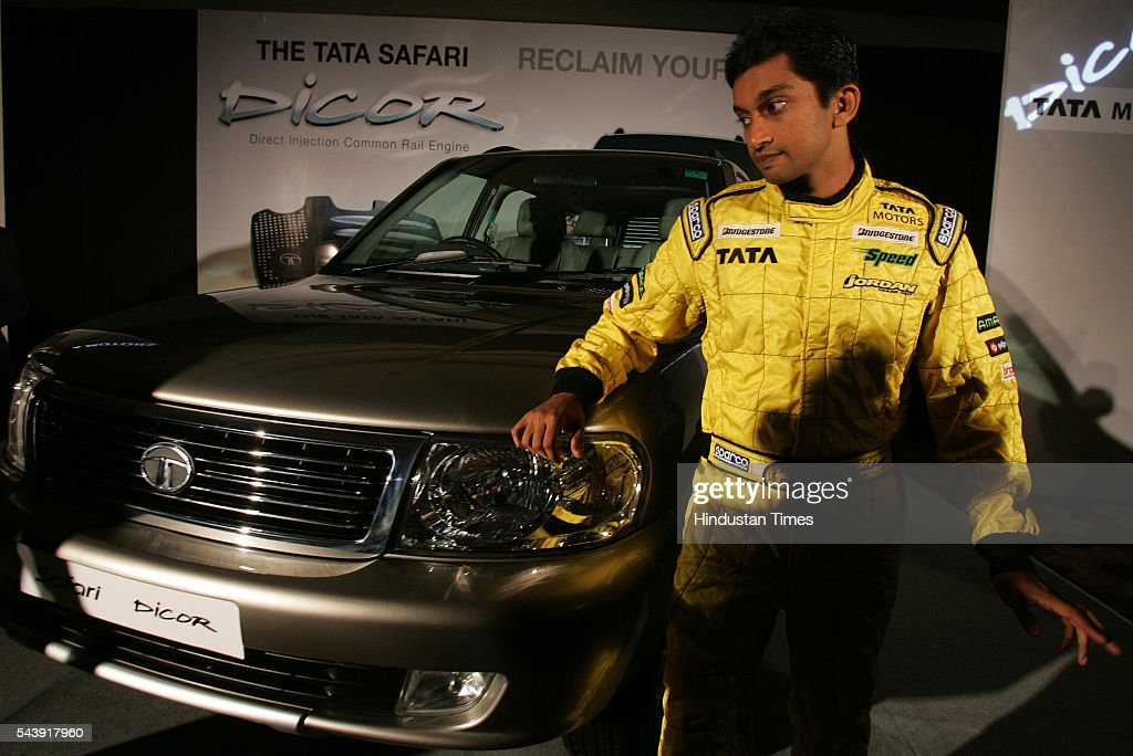 Narain Kartikeyan at the launch of the new Tata Safari Dicor at a suburban hotel.