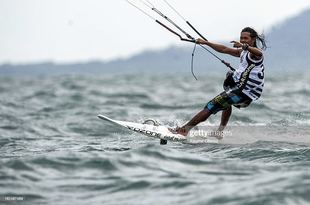 Narapichit Pudla of Thailand celebrates after winning race competition during day four of the 1st KTA Bintan at Argo Beach Resort on February 24, 2013 in Bintan Island, Indonesia.