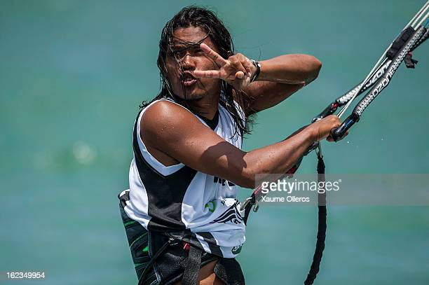 Narapichit Pudla of Thailand talks to the judges during day two of the 1st KTA Bintan at Argo Beach Resort on February 22 2013 in Bintan Island...