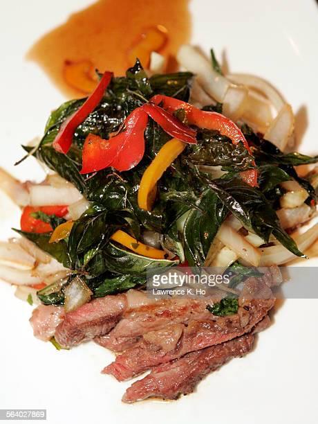 Naraya Thai restaurant a small elegant date–night spot on S Robertson Blvd The dish Ka Pow rib eyes steak in chili garlic and crispy basil
