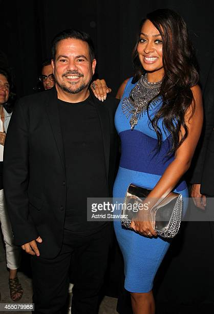 Narciso Rodriguez and La La Anthony pose backstage with TRESemme at the Narciso Rodriquez SS'15 Show during MercedesBenz Fashion Week Spring 2015 at...