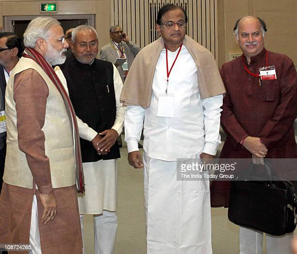 Narendra Modi and Nitish Kumar with P Chidambaram at the Conference of Chief Ministers on internal security held in the Capital on February 1