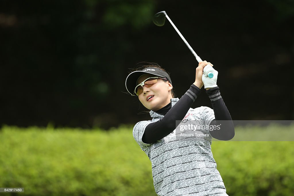 Na-Ri Kim of South Korea hits her tee shot on the 2nd hole during the third round of the Earth Mondamin Cup at the Camellia Hills Country Club on June 25, 2016 in Sodegaura, Japan.