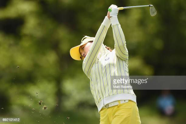 NaRi Lee of South Korea plays her approach shot on the 4th hole during the final round of the Yonex Ladies Golf Tournament 2016 at the Yonex Country...
