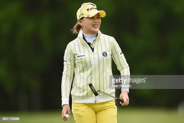 NaRi Lee of South Korea smiles on the 3rd green during the final round of the Yonex Ladies Golf Tournament 2016 at the Yonex Country Club on June 4...