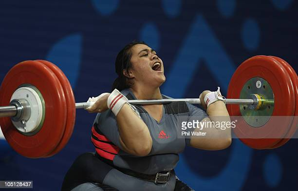 Narita Viliamu of Niue competes in the Womens 75kg at the JN Sports Complex during day seven of the Delhi 2010 Commonwealth Games on October 10 2010...