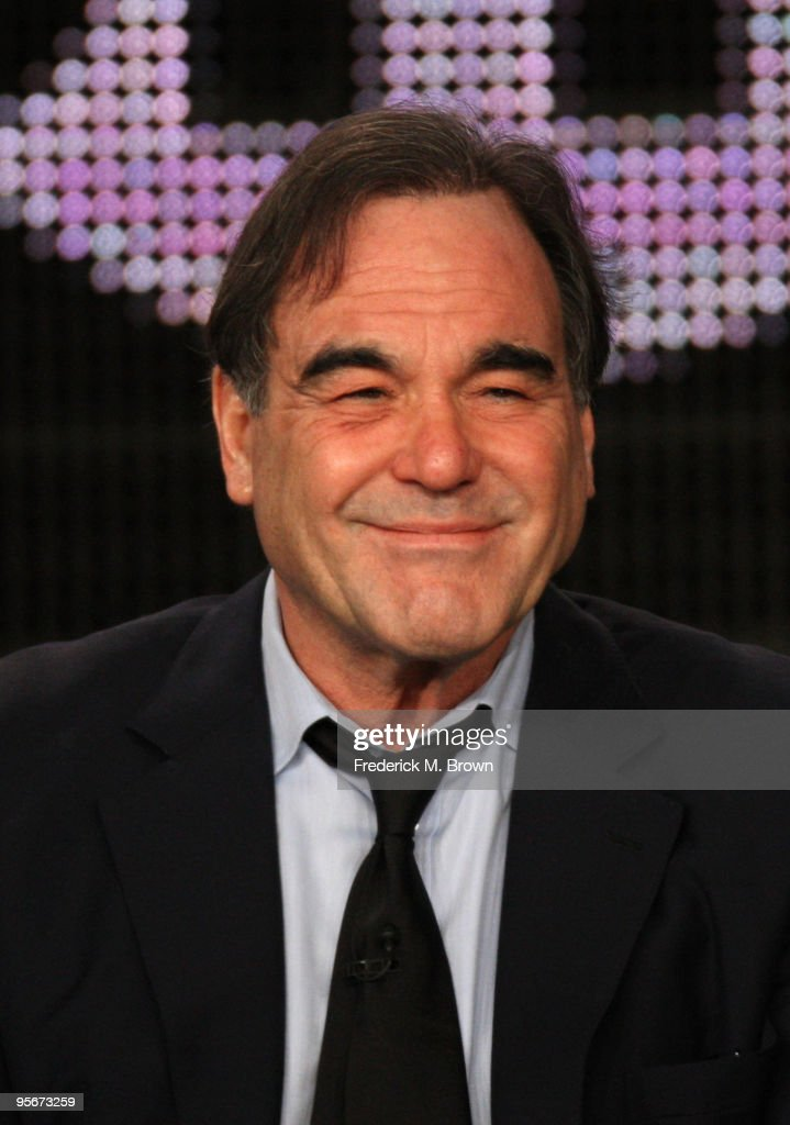 Narrator/director/writer <a gi-track='captionPersonalityLinkClicked' href=/galleries/search?phrase=Oliver+Stone&family=editorial&specificpeople=173458 ng-click='$event.stopPropagation()'>Oliver Stone</a> speaks onstage at the Showtime '<a gi-track='captionPersonalityLinkClicked' href=/galleries/search?phrase=Oliver+Stone&family=editorial&specificpeople=173458 ng-click='$event.stopPropagation()'>Oliver Stone</a>'s Secret History Of America' Q&A portion of the 2010 Winter TCA Tour day 1 at the Langham Hotel on January 9, 2010 in Pasadena, California.