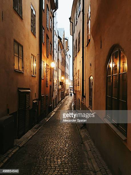 Narrow alley in the old town of Stockholm, Sweden