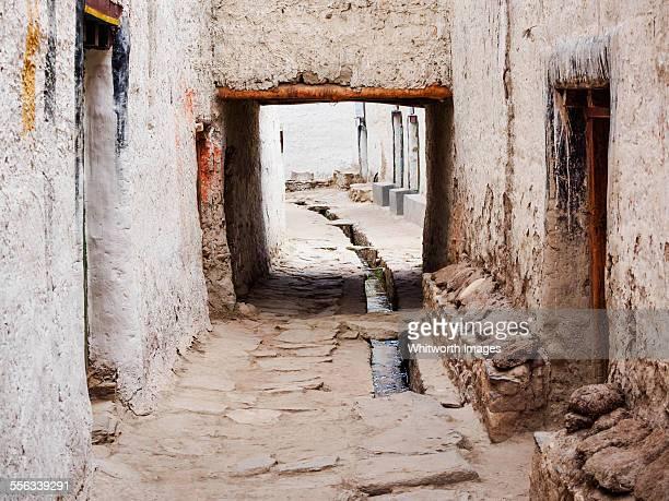 Narrow ancient city lane in Lo Manthang Nepal
