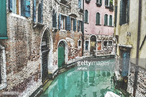 narrow canal in Venice in water color effect : Stock Photo