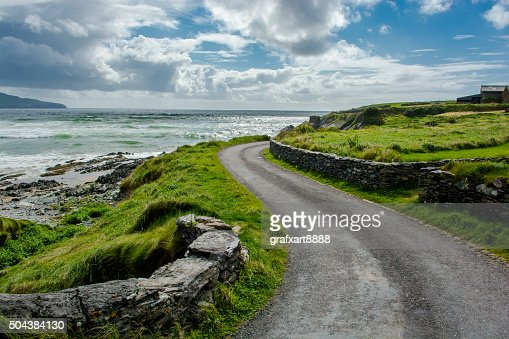 Narrow Coastal Road in Ireland : Stock Photo