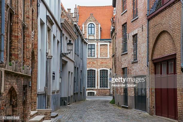 Narrow cobbled street, Bruges, Belgium