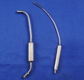 A narrow Frazier suction tip is seen here contrasted with a wider bore Ferguson abdominal suction tip on blue table