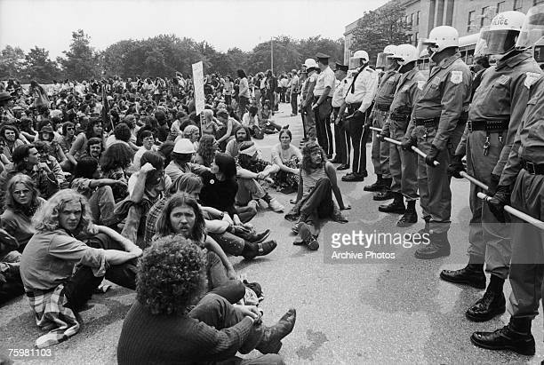 A narrow gap between the protestors and the riot police during a demonstration against the Vietnam War in Washington DC 21st May 1972 173...
