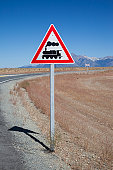 Narrow guage railroad crossing sign, El Maiten, Chubut Province, Patagonia, Argentina