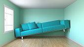 Turqioise, narrow living room