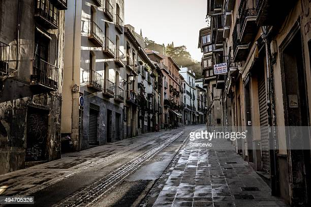 Narrow medieval street in Granada, Spain