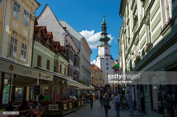 Narrow St Michaels Street with St Michaels Gate in Bratislava the capital of Slovakia