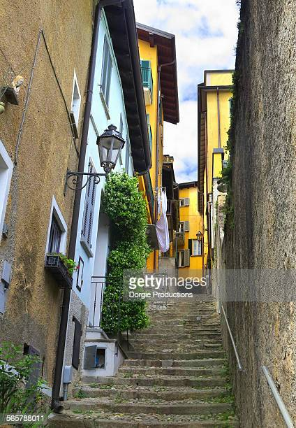 Narrow steps going uphill in Varenna on Lake Como