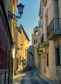 A narrow street in beautiful Orihuela, a popular tourist destination in Southern Spain
