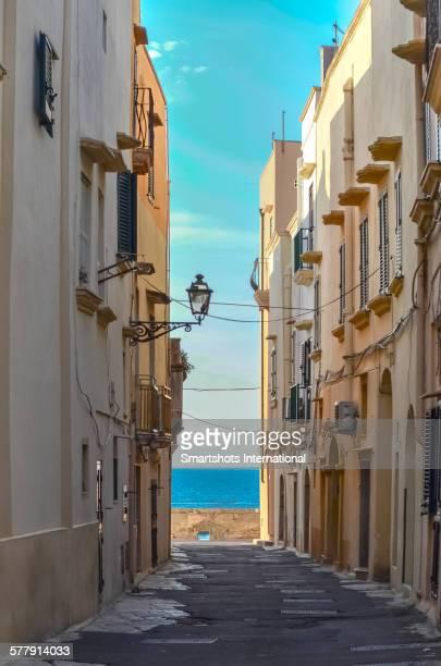 Narrow street overlooking the blue sea, Gallipoli