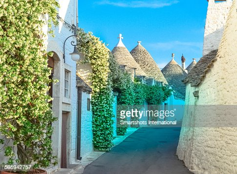 Narrow street with trulli houses in Alberobello