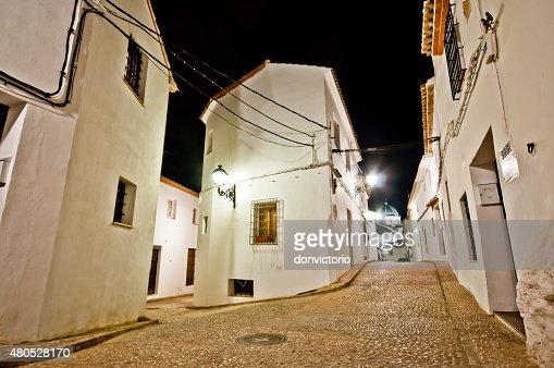 Narrow streets of little Spanish town Altea, Costa Blanca, Spain : Stock Photo