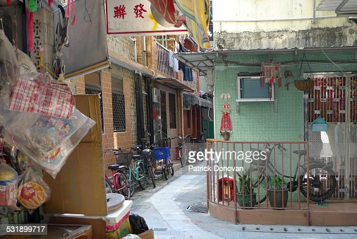 Narrow streets on Cheung Chau Island, Hong Kong