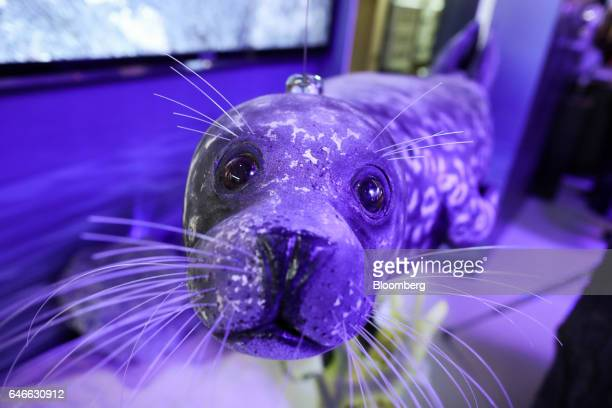 A narrowband internet of things tracker sits on the top of a model of a seal on the third day of Mobile World Congress in Barcelona Spain on...