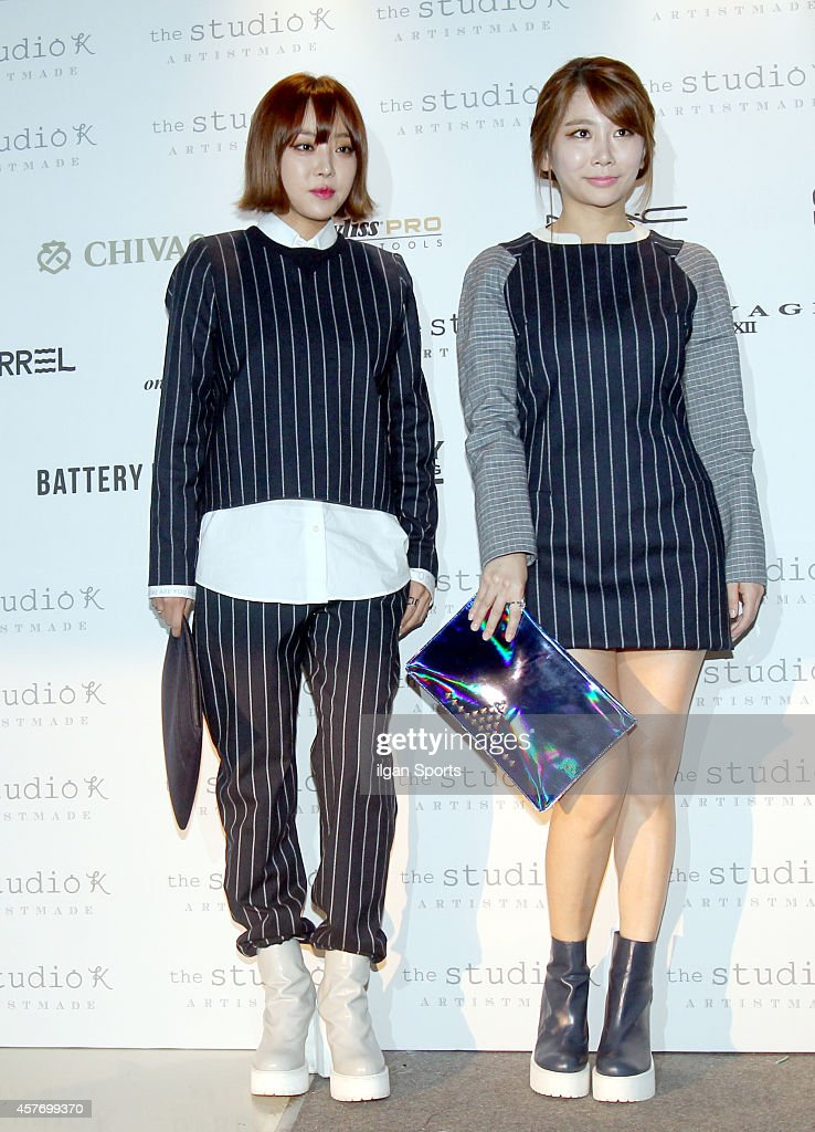 Narsha and Jea of <a gi-track='captionPersonalityLinkClicked' href=/galleries/search?phrase=Brown+Eyed+Girls&family=editorial&specificpeople=6492749 ng-click='$event.stopPropagation()'>Brown Eyed Girls</a> attend 2015 S/S Seoul Fashion Week 'the studio K' collection at DDP on October 19, 2014 in Seoul, South Korea.