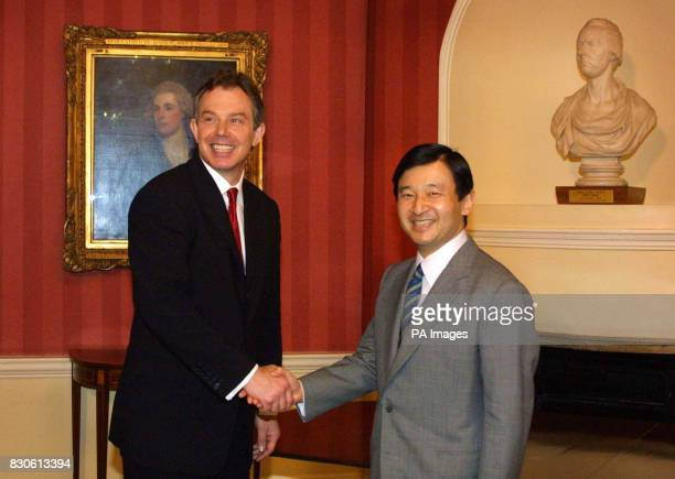 Naruhito Crown Prince of Japan meets Britain's Prime Minister Tony Blair at Downing Street in London Naruhito is on an official visit to Britain...