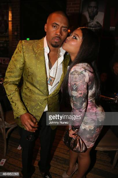 Nas and daughter Destiny Jones attend Vibe Magazine's 2nd Annual PreGRAMMY Impact Awards at The Carondelet House on January 24 2014 in Los Angeles...