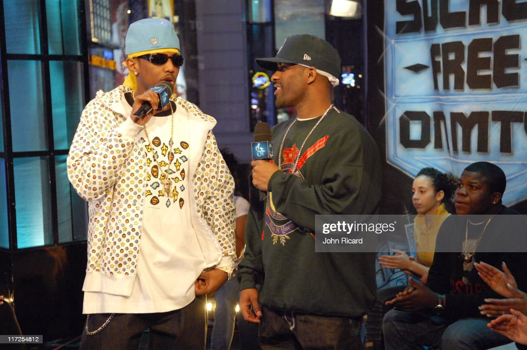 Nas and DJ Clue during Nas Juelz Santana and Fabolous Visit MTV's Sucker Free December 12 2006 at MTV Studios Times Square in New York City New York...