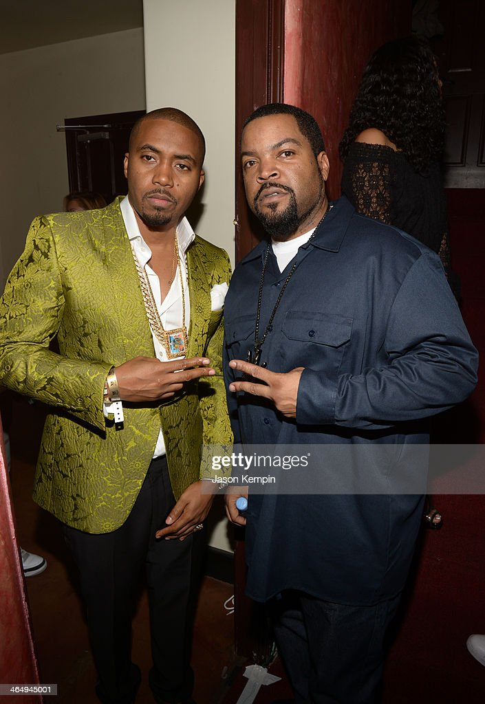 <a gi-track='captionPersonalityLinkClicked' href=/galleries/search?phrase=Nas&family=editorial&specificpeople=204627 ng-click='$event.stopPropagation()'>Nas</a> (L) and Ice Cube attend the Beats Music Launch Party at Belasco Theatre on January 24, 2014 in Los Angeles, California.
