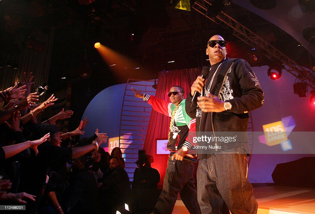 <a gi-track='captionPersonalityLinkClicked' href=/galleries/search?phrase=Nas&family=editorial&specificpeople=204627 ng-click='$event.stopPropagation()'>Nas</a> and Jay Z during Jay Z Performs on 106 & Park with <a gi-track='captionPersonalityLinkClicked' href=/galleries/search?phrase=Nas&family=editorial&specificpeople=204627 ng-click='$event.stopPropagation()'>Nas</a>, Pharrell and Timbaland - November 8, 2006 at BET Studios in New York City, New York, United States.