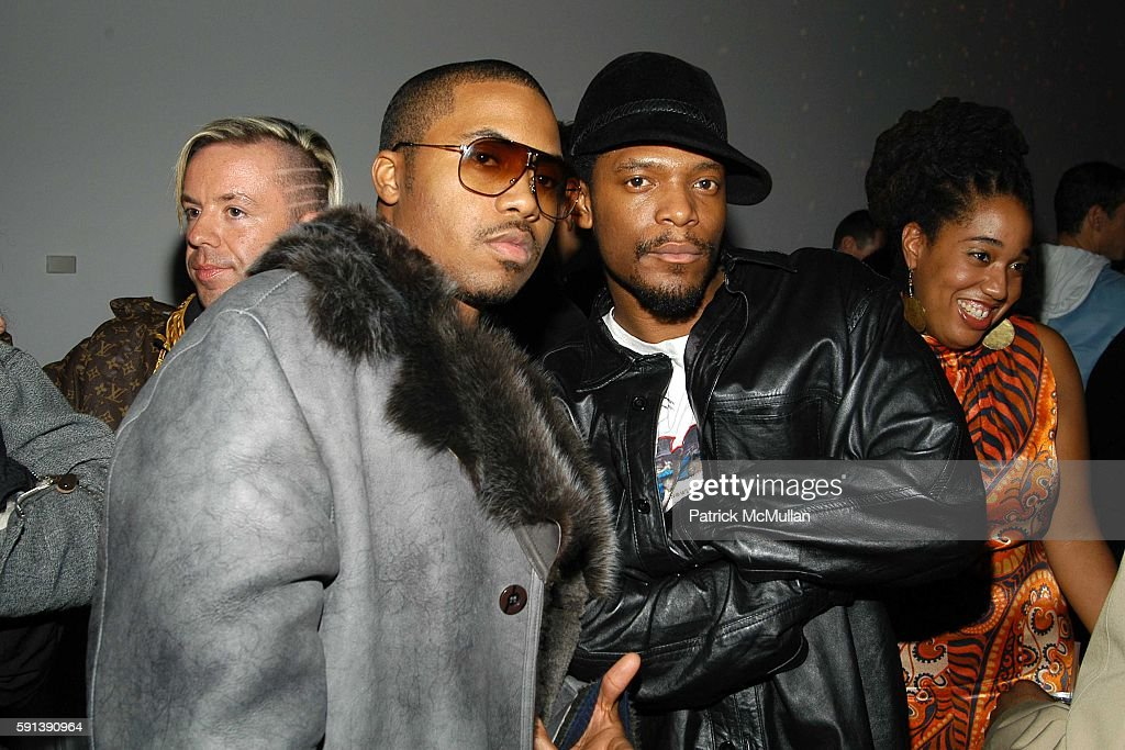 Nas and M1 attend Suede Magazine Hosts 'Suede The Party' to Celebrate the Impact of The Ultrasuedes at Skylight Studio on February 3 2005 in New York...