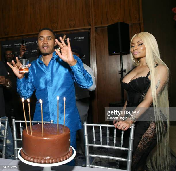 Nas and Nicki Minaj attend hip hop artist Nas' private birthday dinner presented by Hennessy the world's bestselling Cognac at The Pool Lounge in New...