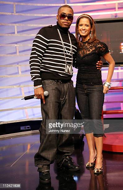 Nas and Rocsi during Timbaland Nas and Marlon Wayans Appear on BET's 106th Park February 8 2007 at BET Studios in New York City New York United States