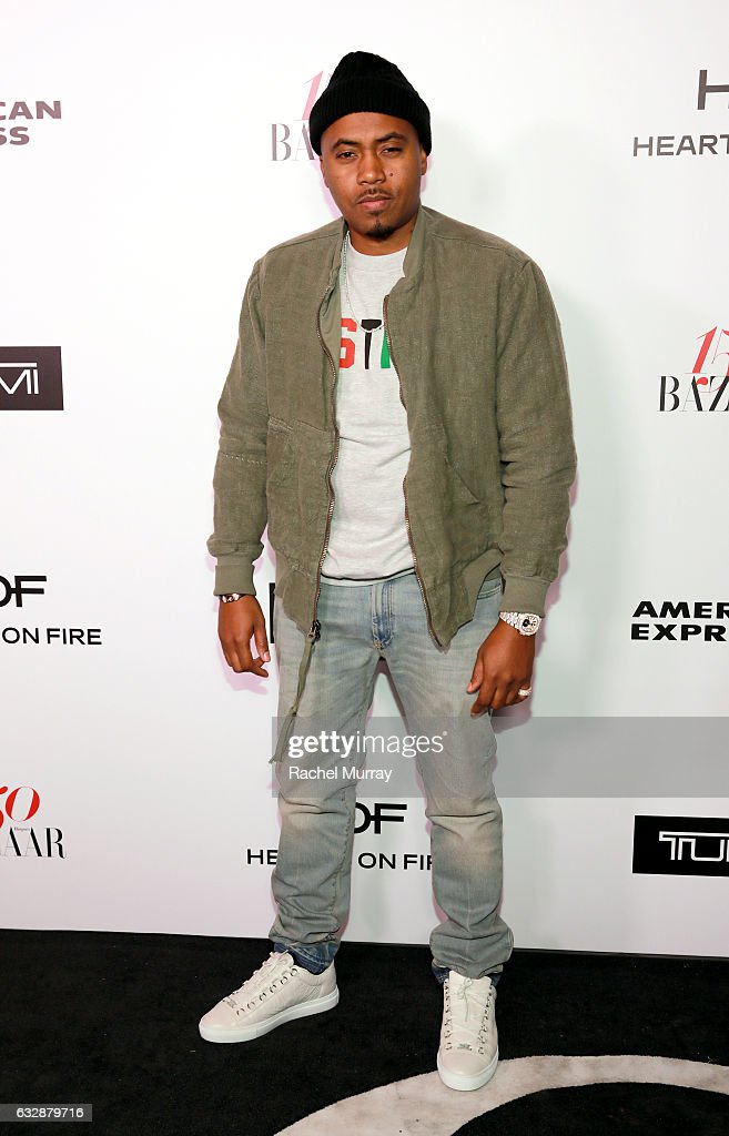 Nas attends Harper's BAZAAR celebration of the 150 Most Fashionable Women presented by TUMI in partnership with American Express, La Perla and Hearts On Fire at Sunset Tower Hotel on January 27, 2017 in West Hollywood, California.