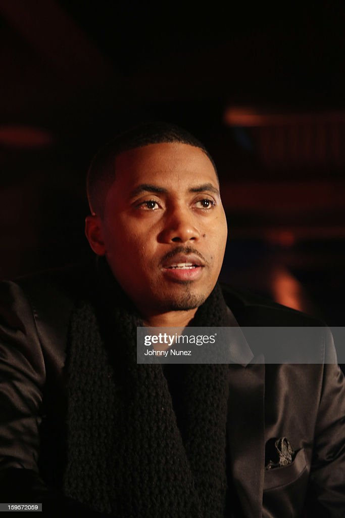 Nas is introduced as Hennesy VS's Newest Partner at R Lounge at the Renaissance New York Times Square Hotel on January 15, 2013 in New York City.