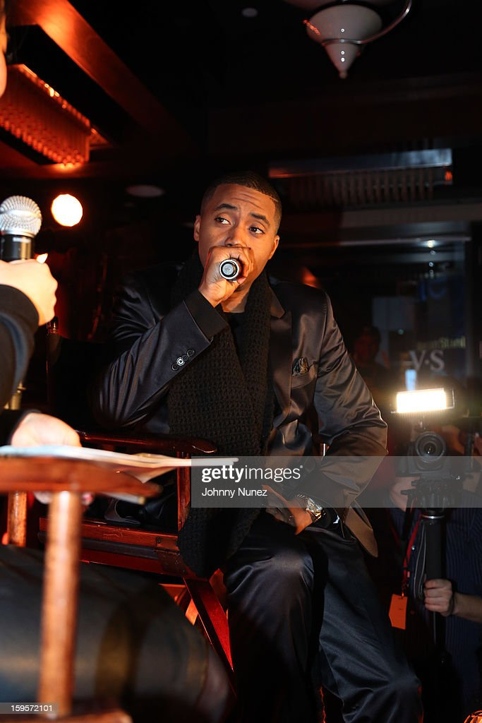 <a gi-track='captionPersonalityLinkClicked' href=/galleries/search?phrase=Nas&family=editorial&specificpeople=204627 ng-click='$event.stopPropagation()'>Nas</a> is introduced as Hennesy VS's Newest Partner at R Lounge at the Renaissance New York Times Square Hotel on January 15, 2013 in New York City.