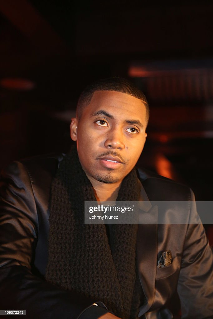 Nas is introduced as the Hennessy vs Newest Partner at R Lounge at the Renaissance New York Times Square Hotel on January 15, 2013 in New York City.