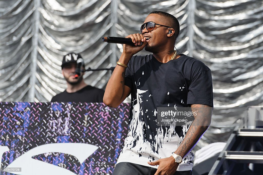 Nas performs on day 3 of the Yahoo! Wireless Festival at Queen Elizabeth Olympic Park on July 14, 2013 in London, England.