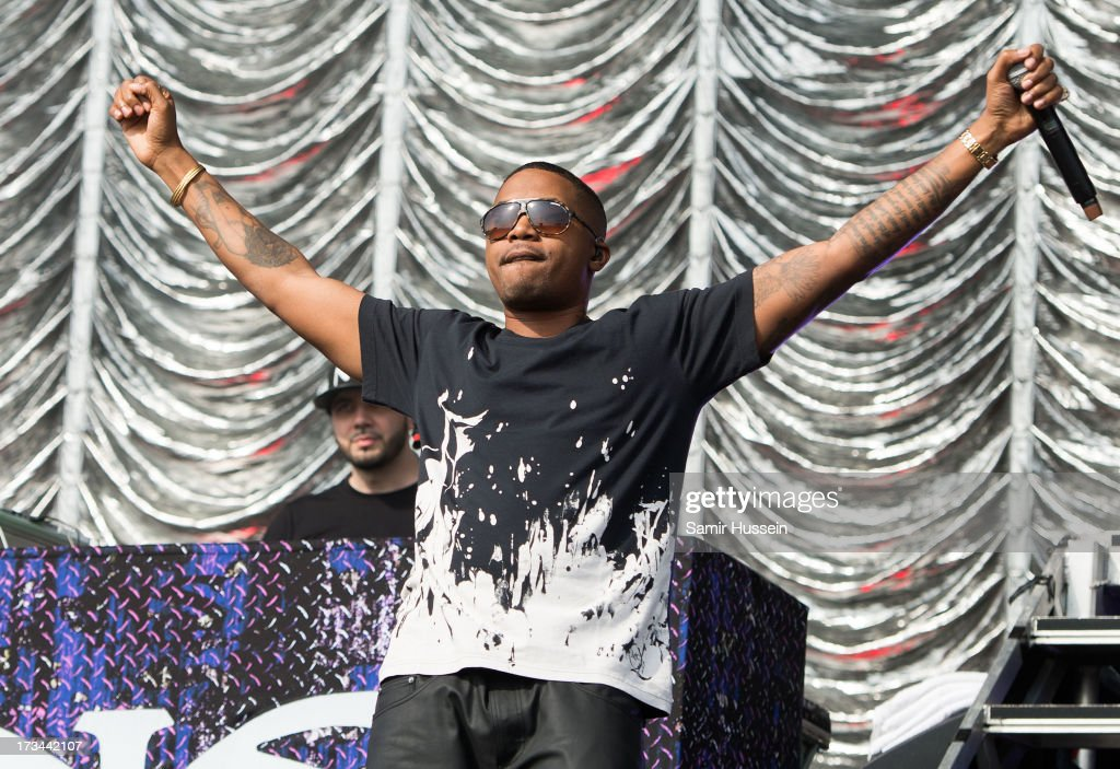 Nas performs on the main stage on day 3 of the Yahoo! Wireless Festival at Queen Elizabeth Olympic Park on July 14, 2013 in London, England.