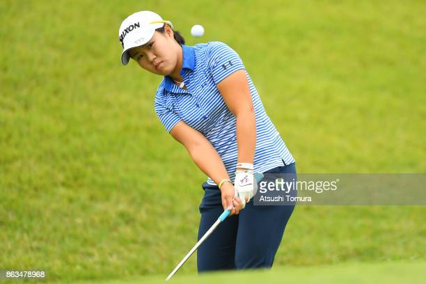 Nasa Hataoka of Japan chips onto the 4th green during the second round of the Nobuta Group Masters GC Ladies at the Masters Golf Club on October 20...