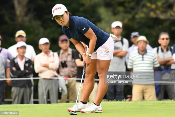 Nasa Hataoka of Japan reacts during the third round of Japan Women's Open 2017 at the Abiko Golf Club on September 30 2017 in Abiko Chiba Japan