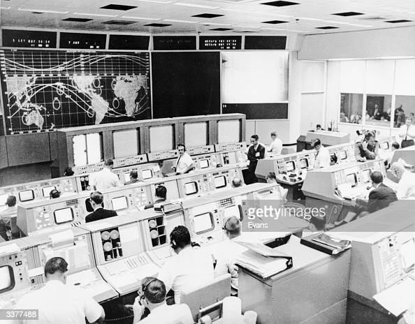 Nasa's Mission Control room Houston Texas in operation during the second day of the Gemini V spaceflight