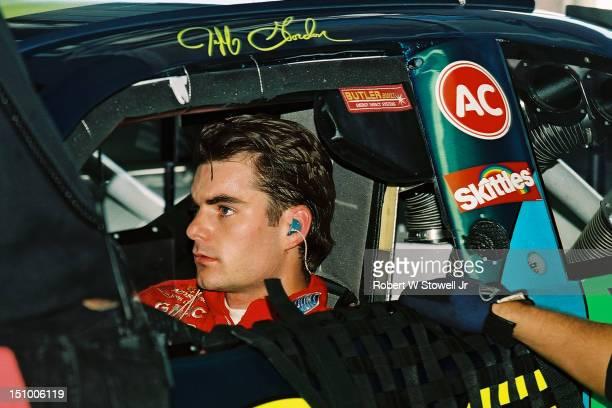 Nascar legend Jeff Gordon prepares his car for the cup race Charlotte NC 1996